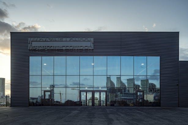 Glazed main entrance to venue