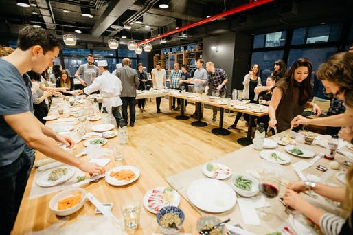 WeLive communal dining in New York. Photo: Lauren Kallen/WeWork
