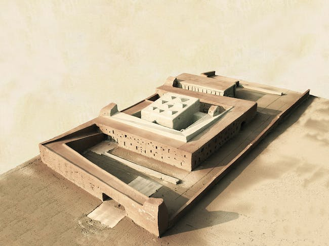 Holcim Bronze Award: Training center for sustainable construction, Marrakesh, Morocco by Anna Heringer, Germany in collaboration with Elmar Nägele, Austria; Salima Naji, Morocco; Martin Rauch, Baukunst GmbH, Austria; Ernst Waibel, Nägele Waibel Architects, Austria: Working model.