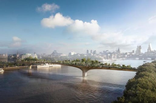 Rendering of the proposed River Thames Garden Bridge. (Image: Heatherwick studio)