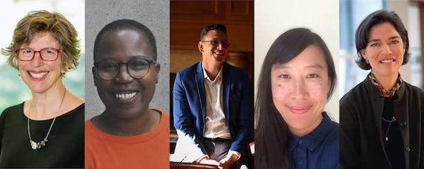 From left: 2021 Steedman jury chair Mary Ann Lazarus, and jury members Shantel Blakely, Billy Fleming, Janette Kim and Marsha Maytum. (Photos: Courtesy of the architects)