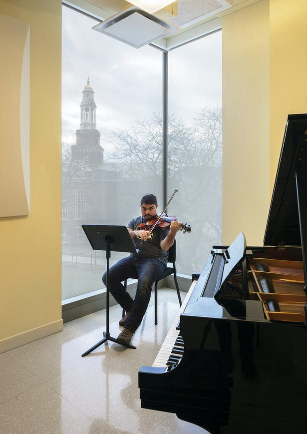 Many of the music studios feature views of LaGuardia library and the campus. Photo: Richard Barnes