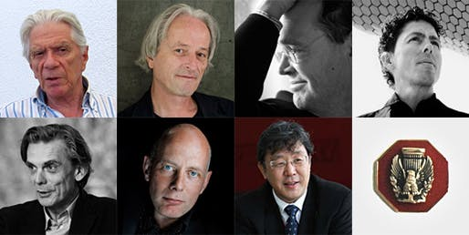 The AIA's 2013 Honorable Fellows (from top left): Zvi Hecker, Ladislav Lábus, Francisco Jose Mangado, Fernando Romero, Matthias Sauerbruch, Ben van Berkel, Siegfried Zhiqiang Wu (Images courtesy of AIA)