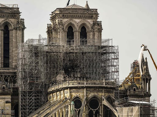 Notre Dame Cathedral on April 17, 2019. Image © Bertrand Guay/Getty Images