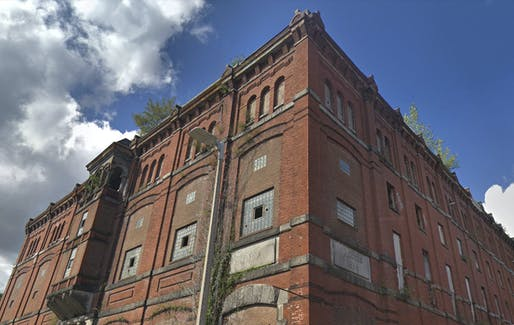 Many Boston buildings, like the 19th-century J.R. Alley Brewery in Mission Hill, have been sitting empty for years or even decades. Image via Google Street View.