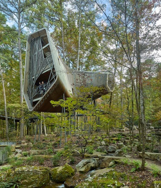 The Evans Tree House at Garvan Woodland Gardens, Hot Springs, Arkansas | Modus Studio and the University of Arkansas. Photo: Timothy Hursley.