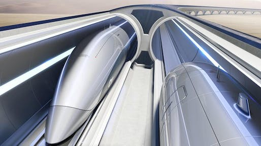 Zaha Hadid Architects has been enlisted by Hyperloop Italia to help design the next phase of their development. Image: Hyperloop Transportation Technologies