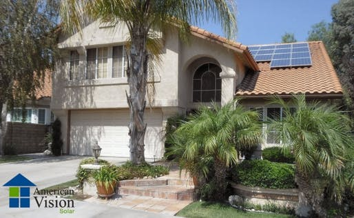 This home in Santa Clarita, Calif., sports a 4.14-kilowatt solar system owned by Google and put in place by American Vision Solar, an installer affiliated with Clean Power Finance. (Credit: American Vision Solar)