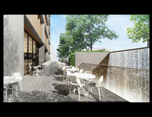 Restaurant Terrace with Light Wells and Waterfall