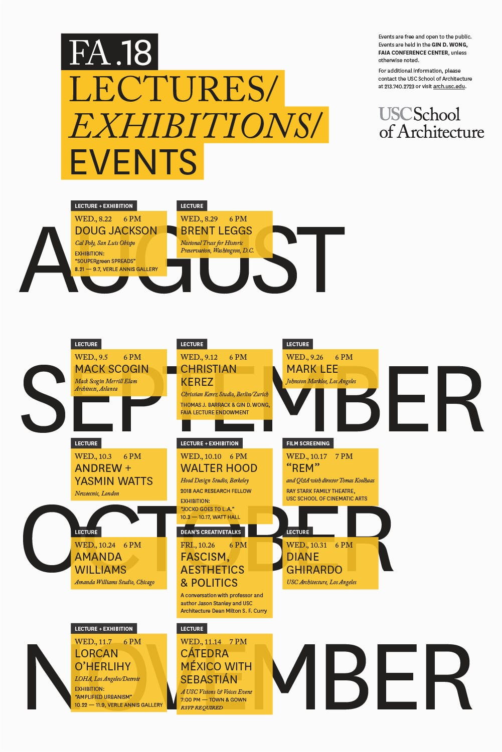 Get Lectured: USC, Fall \'18 | News | Archinect