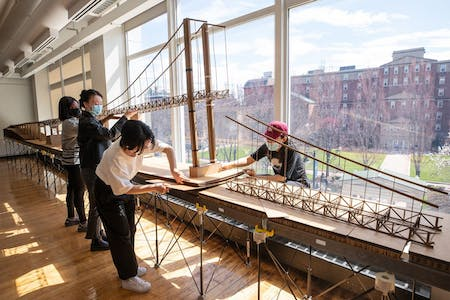 'Crossing the Pell' - Students began by creating a 3D model of the existing bridge structure. Photo by Jo Sittenfeld MFA 08 PH/Courtesy of RISD INT|Ar