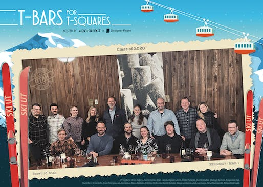 The inaugural T-Bars for T-Squares group. From left to right: Paul Petrunia, Ali Jeevanjee, Benjamin Ball, Kiera Epstein, Deirdre Holbrook, Michael Epstein, David Gensler, Matt Swindel, Maya Levinson, Kelly Swindel, Josh Levinson, Daniel Lynch, Gregg Pasquarelli, Brad Lynch, Krista Ninivaggi, and Jacob Slevin
