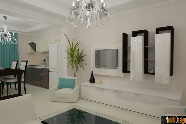 Interior design ideas for a modern living and bedroom
