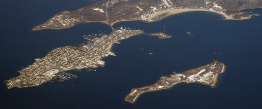 Aerial view of Hart Island (right). Image courtesy of Wikimedia Commons / Doc Searls.