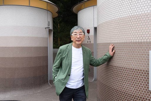 Toyo Ito with his Yoyogi-Hachiman Public Toilet. All images: Courtesy The Nippon Foundation