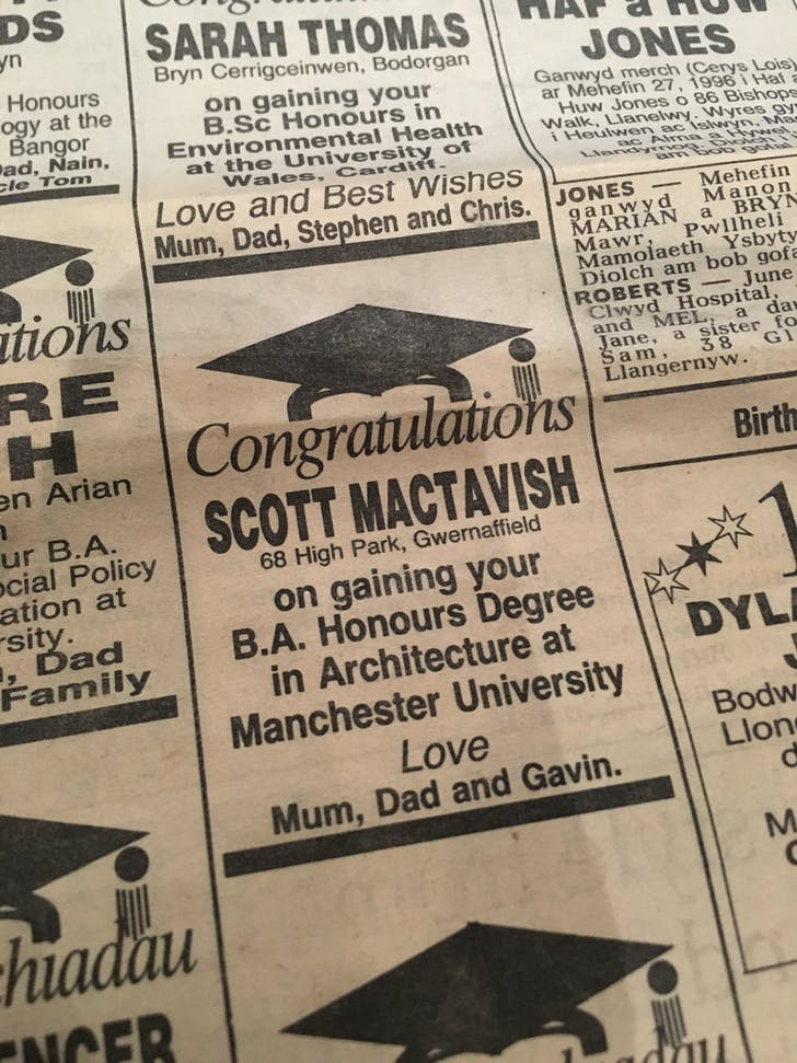 Proud parents announcing my degree in the local paper