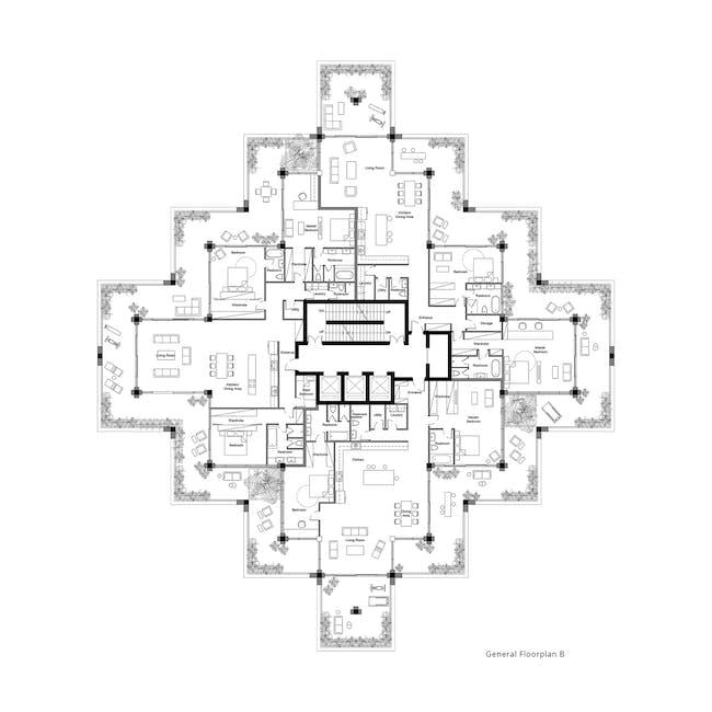 Tel Aviv Arcades floor plan by Penda Austria. Image: Penda Austria.