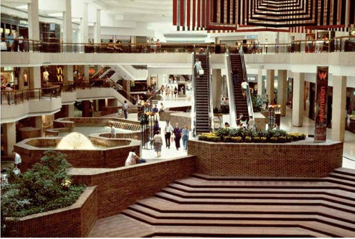1980s mall shot from Michael Galinsky's 'Malls Across America', image via New Republic.