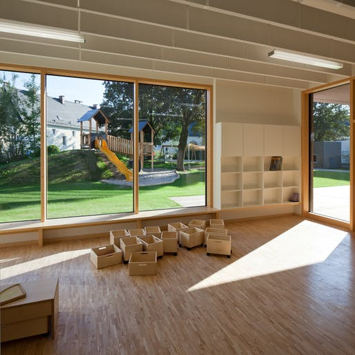 View of Kindergarten & Nursery in Linz, Austria by lobmaier architekten zt gmbh;  <https://archinect.com/lobmaier_architekten/project/kindergarten-nursery> Photo Credit: Kurt Hoerbst</a>