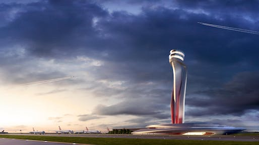 """<a href=""""https://archinect.com/pininfarina/project/istanbul-airport-air-traffic-control-tower"""">Istanbul Airport Air Traffic Control Tower</a> by Pininfarina"""
