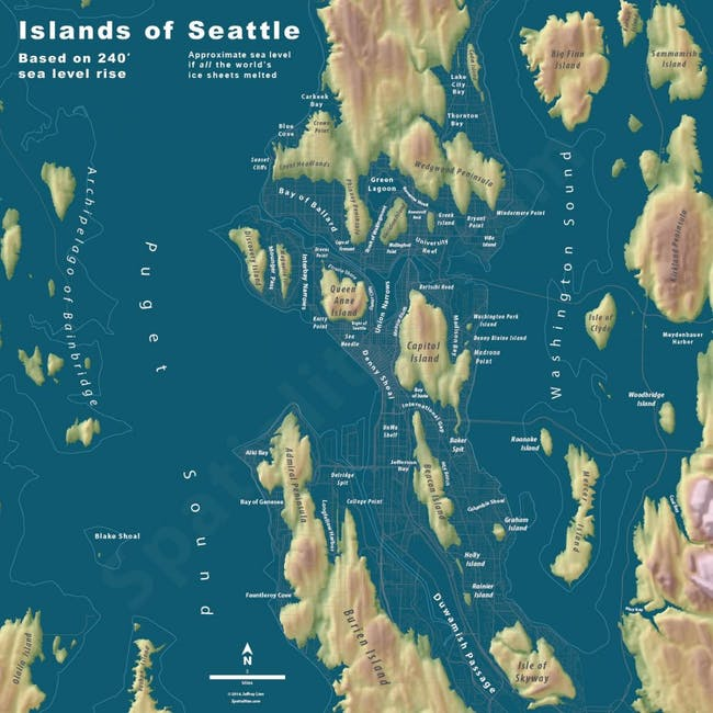 The city of Seattle rendered into an island chain. Credit: Jeremy Linn via CityMetric