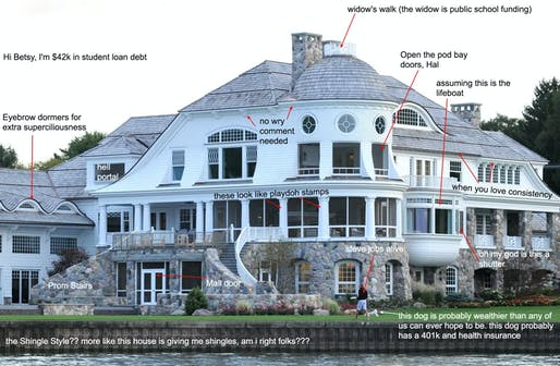 Betsy DeVos's Michigan summer mansion critiqued on McMansion Hell. Image: Kate Wagner/Advance Media/Barcroft Images.