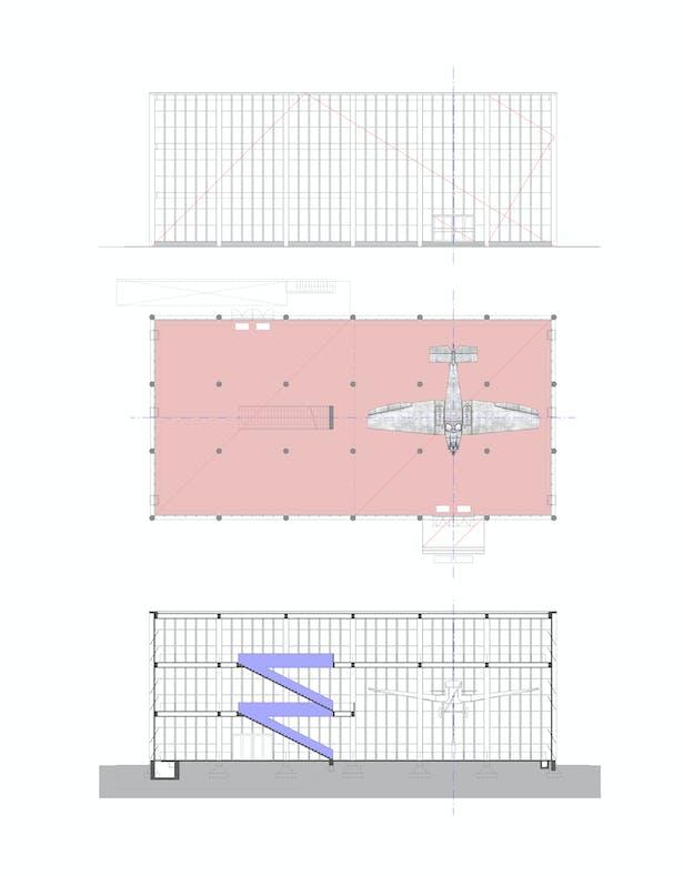 Floor plan, section, view TRANSAT architekti