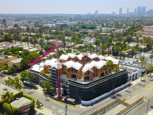 "Aerial view of the 8600 Wilshire ""Gardenhouse"" site in Beverly Hills. Image: MAD Architects."