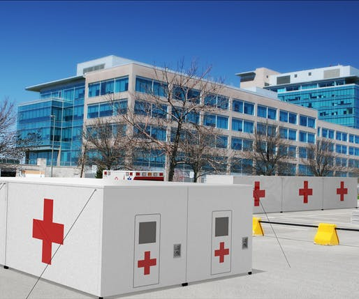 Rendering of Core Composites' Tupelo medical shelters in an office parking lot. Credit: Core Composites.