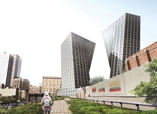 Newly revealed renderings of the BIG-designed Meatpacking District towers show a number of changes to the geometry and facade since the last illustrations surfaced in November. (Image: BIG; via newyorkyimby.com)