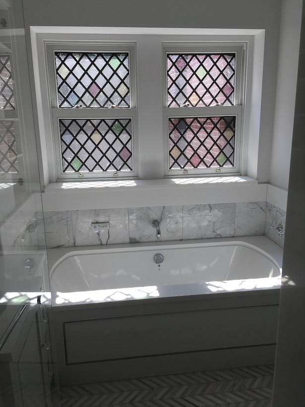 New leaded glass and insulated glass weight and chain window assembly to match existing