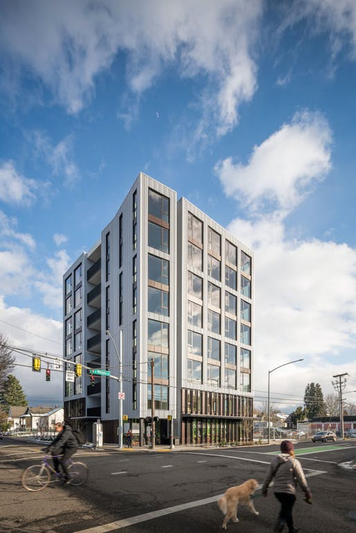 Carbon 12 in Portland, Oregon is the tallest building in the United States made with mass timber. Courtesy of Kaiser + Path