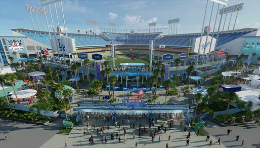 Rendering of the new Centerfield Plaza at Dodger Stadium. Image: Los Angeles Dodgers