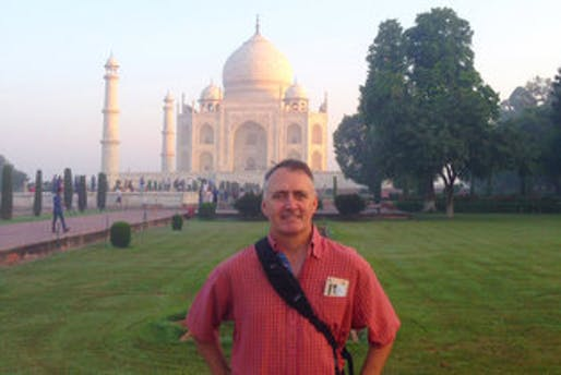 Scott Lee, principal and president of the global architectural firm SB Architects, during a visit to the Taj Mahal in India. (via nytimes.com; Photo: SB Architects)