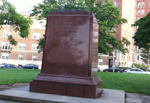 "View of the Confederate Womens Memorial in Baltimore that was partially taken down in 2017. Photo courtesy of Wikimedia user<a href=""https://upload.wikimedia.org/wikipedia/commons/thumb/1/11/ConfederateWomensMemorial_16_Aug_2017.jpg/1936px-ConfederateWomensMemorial_16_Aug_2017.jpg"">BalPhot</a>"