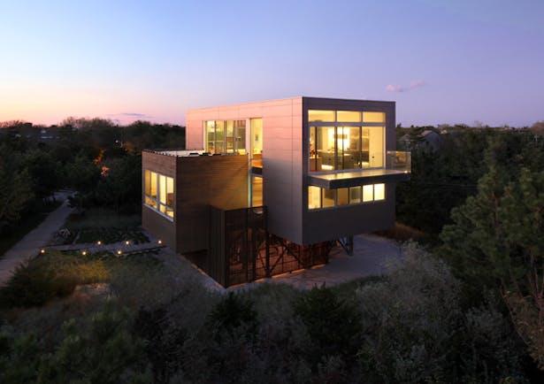 house at dusk