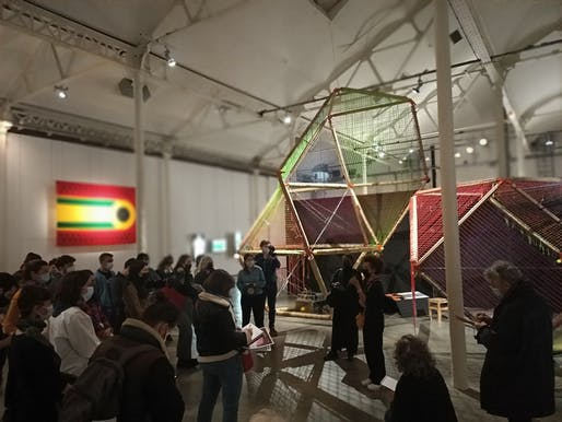 "Visitors take in ""Fufuzela – Lieu Utile,"" as part of the ""UFA – Université des Futurs Africains [University of African Futures]"" exhibition at Le Lieu Unique in Nantes, France. Image: Yasmine Abbas"