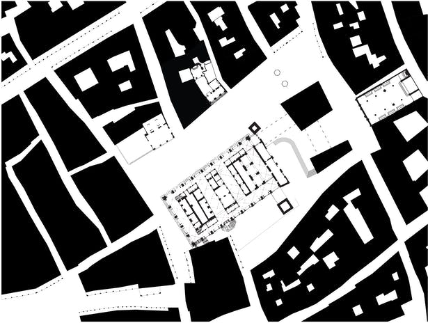Nolli map with existing buildings and proposed addition