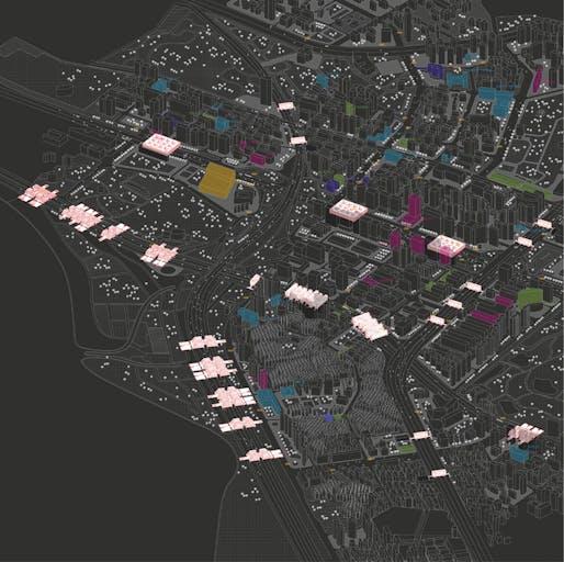 Built area distribution map (Image: FangCheng Architects)