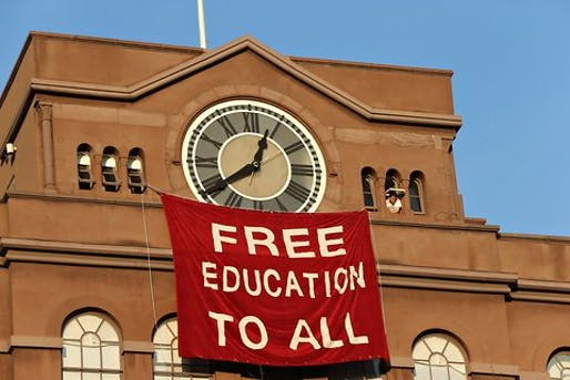 Initial student protest banner to possibility of tuition for undergraduates back in 2012. Image: Michelle V. Agins.
