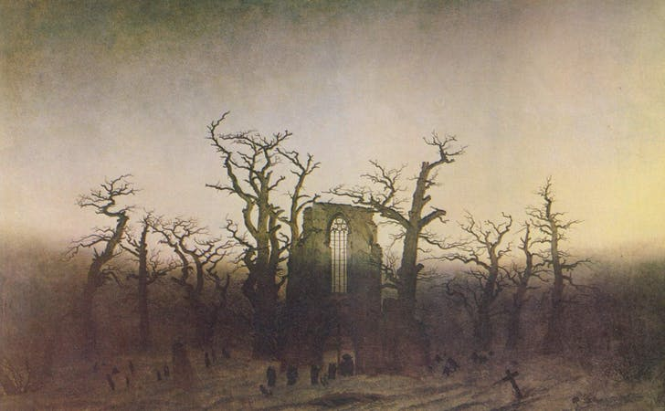 'The Abbey in the Oakwood' by Caspar David Friedrich, 1809–10, based on the ruined Eldena Abbey in Germany.