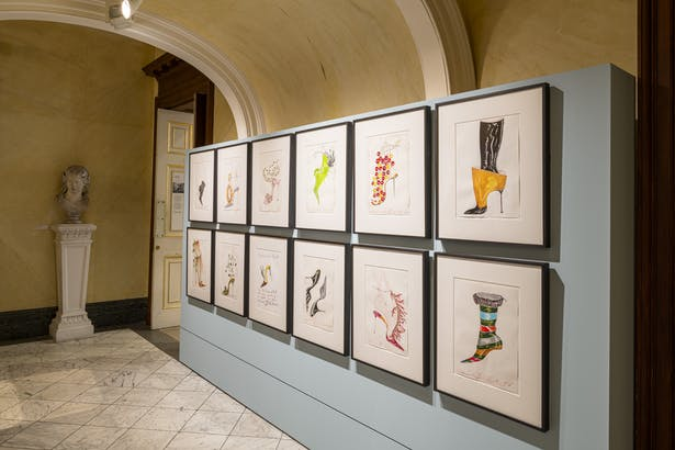 A display of Manolo Blahnik's sketches are located on the ground floor, opposite the introductory panel