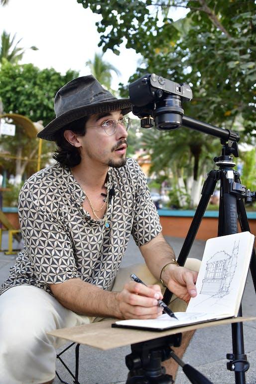 Alán sketching in Sayulita, Mexico. Image courtesy of Alán Ramiro Manning.
