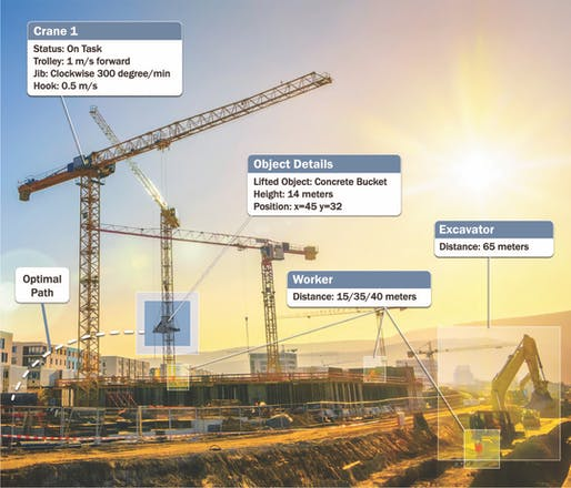 The Israeli technology firm Intsite envisions the autonomous crane to be the control tower of the 'smart construction site' of the future. Image: Intsite