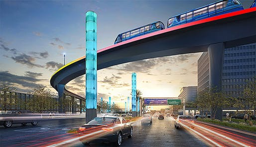 Rendering of the people mover train heading into Los Angeles International Airport.