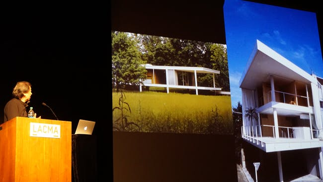 A slide comparing Mies van der Rohe's Farnsworth House with Ban's Curtain Wall House. Credit: Nicholas Korody