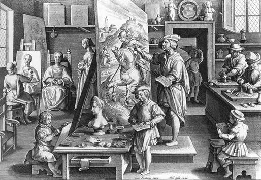 Sixteenth-century artists workshop. 1591, Copper engraving by an anonymous engraver, 20.5 x 27 cm.