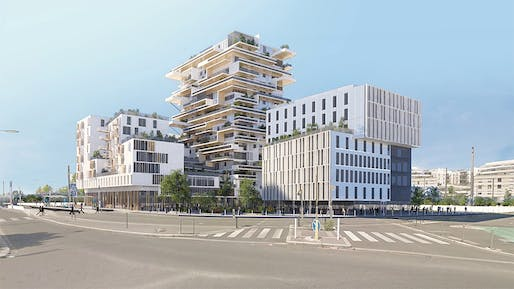 "The 18-story wooden residential high-rise Tour Hypérion designed by Jean-Paul Viguier & Associés was <a href=""https://archinect.com/news/article/149935481/two-wooden-towers-to-rise-in-bordeaux"">announced</a> for the city of Bordeaux in 2016 as France's first timber tower. The model project is expected to be completed this year."