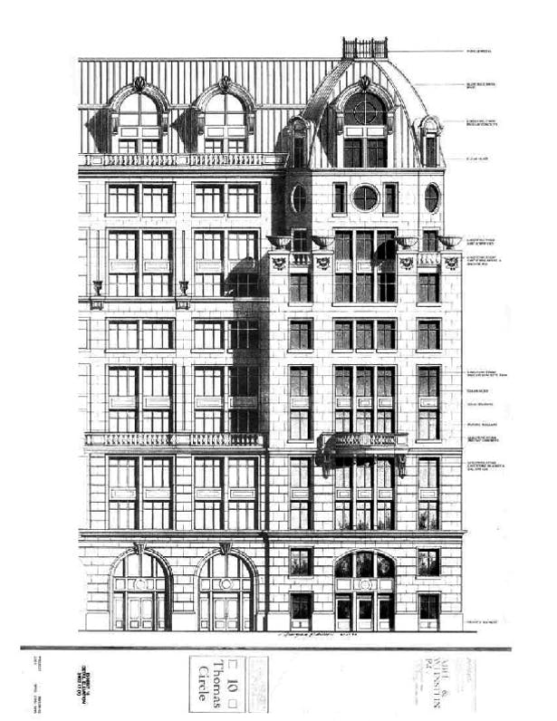 Pencil Sketches, Mix-use office & residential, 10 Thomas Circle, Clark Tribble Harris and Li, 1989, Downtown Washington DC.