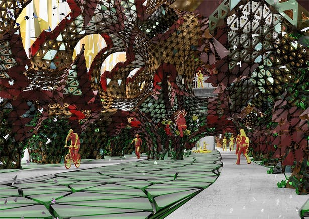 Interior perspective highlights horizontal activities when vegetation is beginning to grow onto architecture.